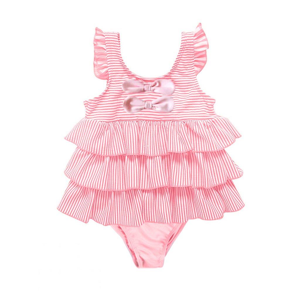 7-Mi Costume da Bagno Ragazza, Bambino Bimba Costume intero da Bambina Rosa con Onda Gonna -2-6 Anni