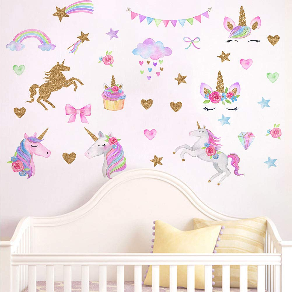 Unicorn Wall Decals, Romantic Unicorn Wall Stickers Girls Bedroom, Unicorn Wall Stickers Decorations, Wall Decor with Clouds