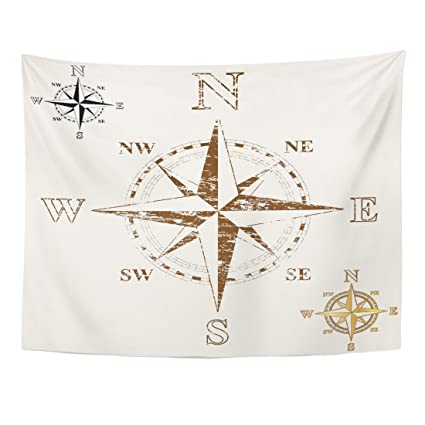 Amazon Com Emvency Tapestry Map Faded Compass Rose Gold And Plain