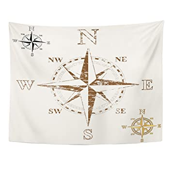 Amazoncom Emvency Tapestry Map Faded Compass Rose Gold And Plain