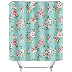 "Uphome Pink Rose Flower with Leaves Customized Bathroom Shower Curtain - Aqua Waterproof and Mildewproof Polyester Fabric Bath Curtain Design (72"" W x 72"" H)"