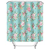 Aqua and Pink Shower Curtain Uphome Pink Rose Flower with Leaves Customized Bathroom Shower Curtain - Aqua Waterproof and Mildewproof Polyester Fabric Bath Curtain Design (72