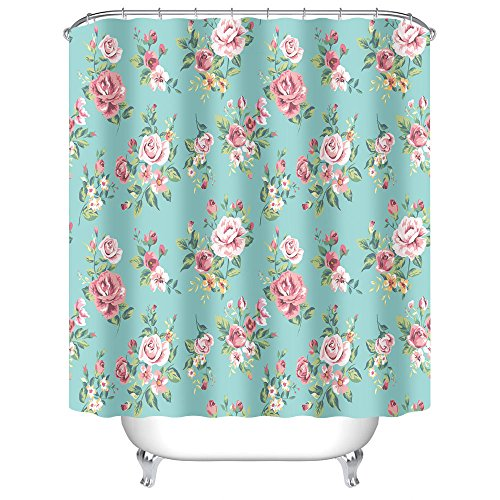 Uphome Pink Rose Flower with Leaves Customized Bathroom - Shabby Chic Pink Curtains