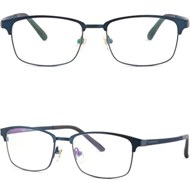 156f920dde6 Men Women Light Titatnium Metal Browline Frame Prescription Glasses Navy  Blue