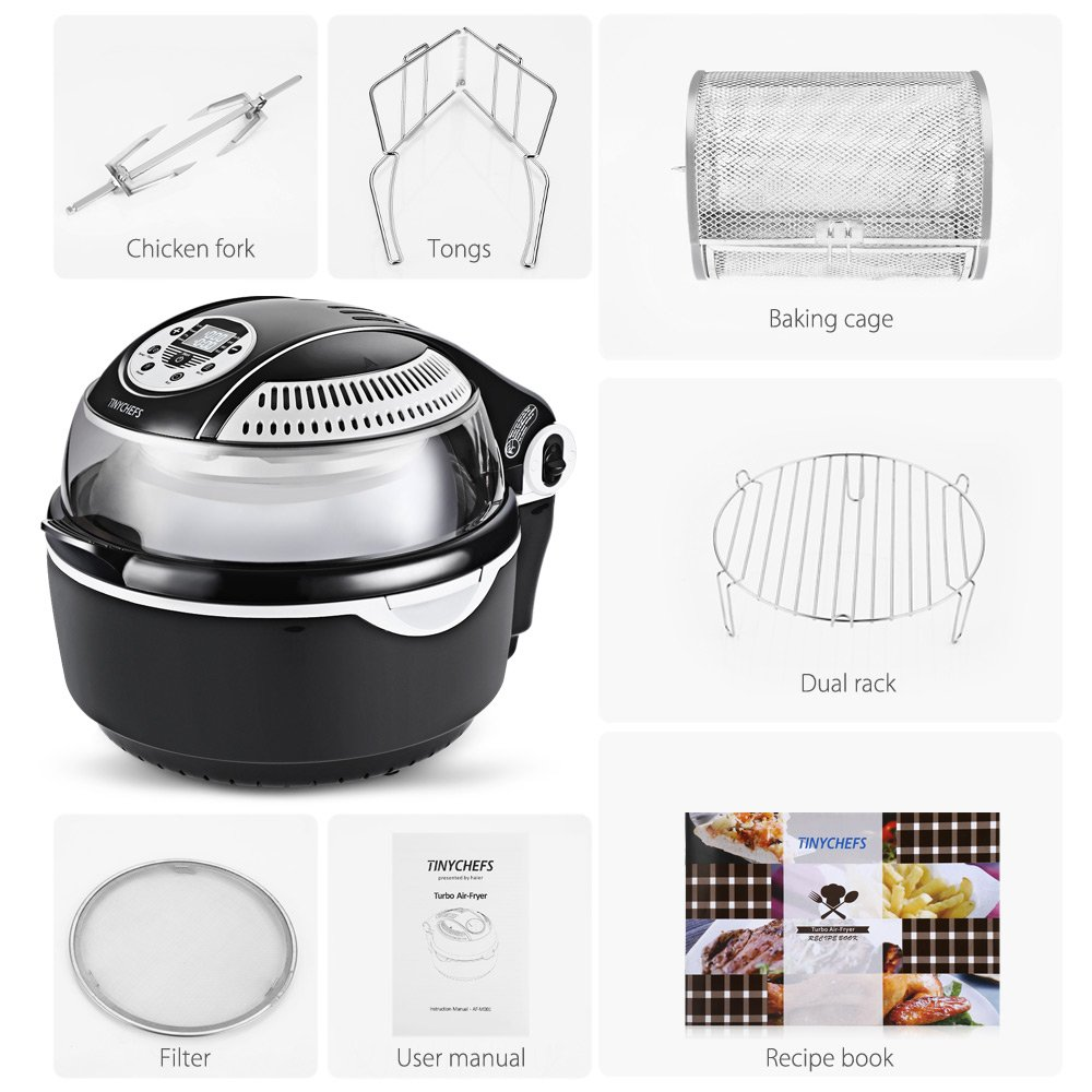 Tinychefs Multifunctional Airfryer, Oil-Less Airfryer 10 litres Health Halogen Turbo Hot Air Fryer Multi Grill Oven Temperature Control No Splatter by Tinychefs (Image #8)