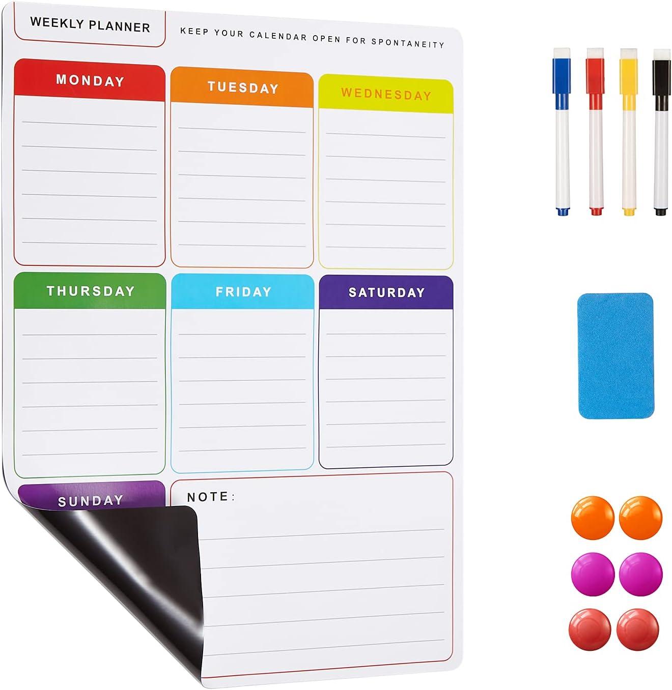 Magnetic Calendar for Refrigerator, Dry Erase Calendar Kit, Vertical Weekly Fridge Calendar Whiteboard and Magnetic Fridge Planner/Grocery List