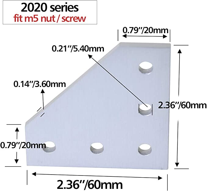 UK Multi-Packs 5 Hole T Joining Plate 2020 Aluminium Extrusion Anodised