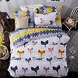 4pcs/set Animal Design Children Bedding Set Duvet Cover Set Duvet Cover Bedsheet Pillowcase Twin Full Queen (Full, Fox Family, White)