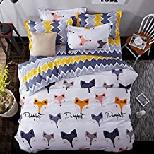 4pcs/set Animal Design Children Bedding Set Duvet Cover Set No Comforter Duvet Cover Bedsheet Pillowcase Twin Full Queen (Twin, Fox Family, White)