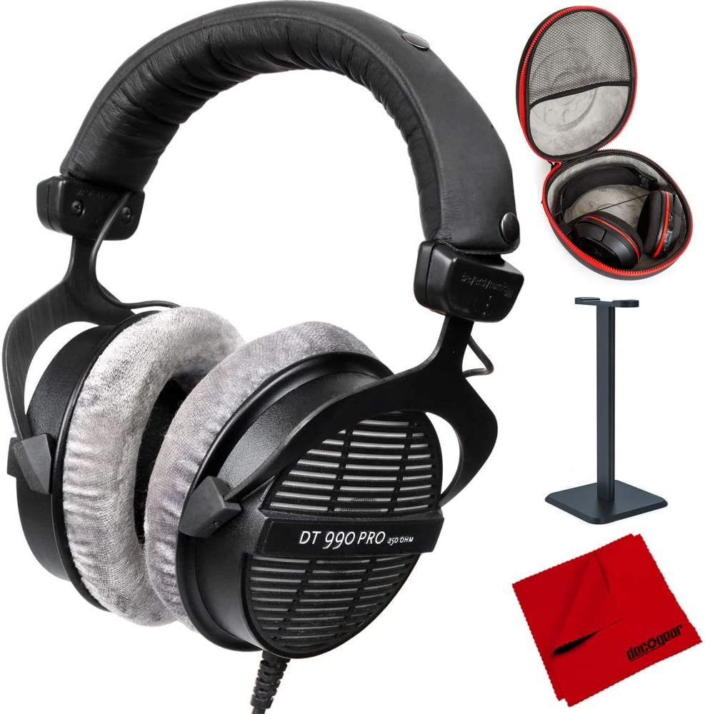 beyerdynamic DT-990-Pro-250 Professional Acoustically Open Headphones 250 Ohms (459038) with Full Size Headphone Case, Headphone Stand & Microfiber ...