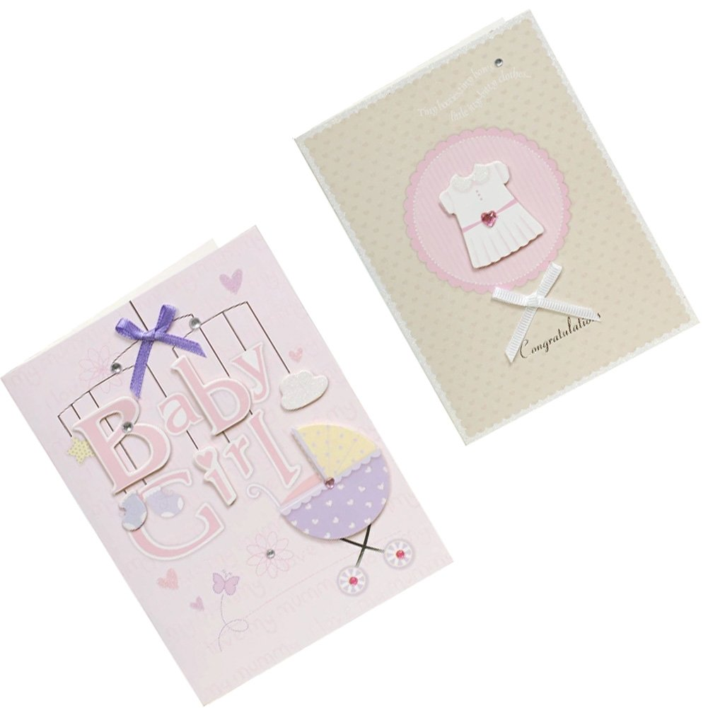 Lovely Baby Thank You Cards Baby Shower Set of 10 3D Cards, Pink& Brown Kylin Express