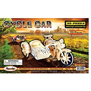 Puzzled, Inc. 3D Natural Wood Puzzle - Cycle Car