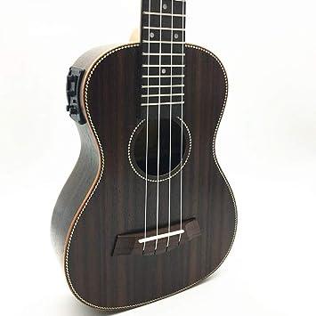 NING-MENG Concierto Ukelele acústico eléctrico 23 pulgadas de palo de rosa hawaiana 4 cuerdas Guitarra 17 trastes Ukelele eléctrico con ecualizador de ...