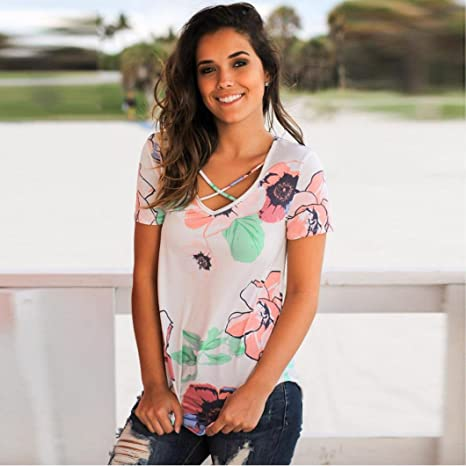 Vovotrade® 2017 Dibujo de Flores Mujer Verano Suelto Informal Fuera del Hombro Camisa de Mezclilla Top Blusa Ladies: Amazon.es: Ropa y accesorios