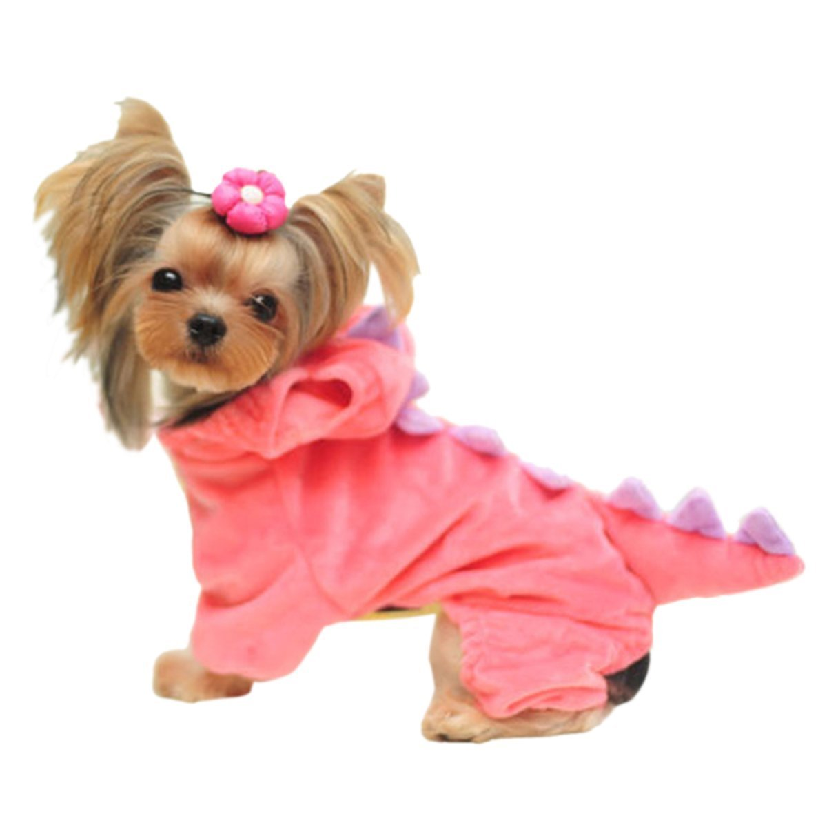 Dinosaur Onesie Costume for Cats or Dogs - Perfect for Parties or Halloween (S, Pink)