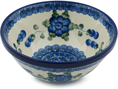 Amazon Com Polish Pottery Cereal Soup Bowl 5 Inch Blue Poppies Cereal Bowls