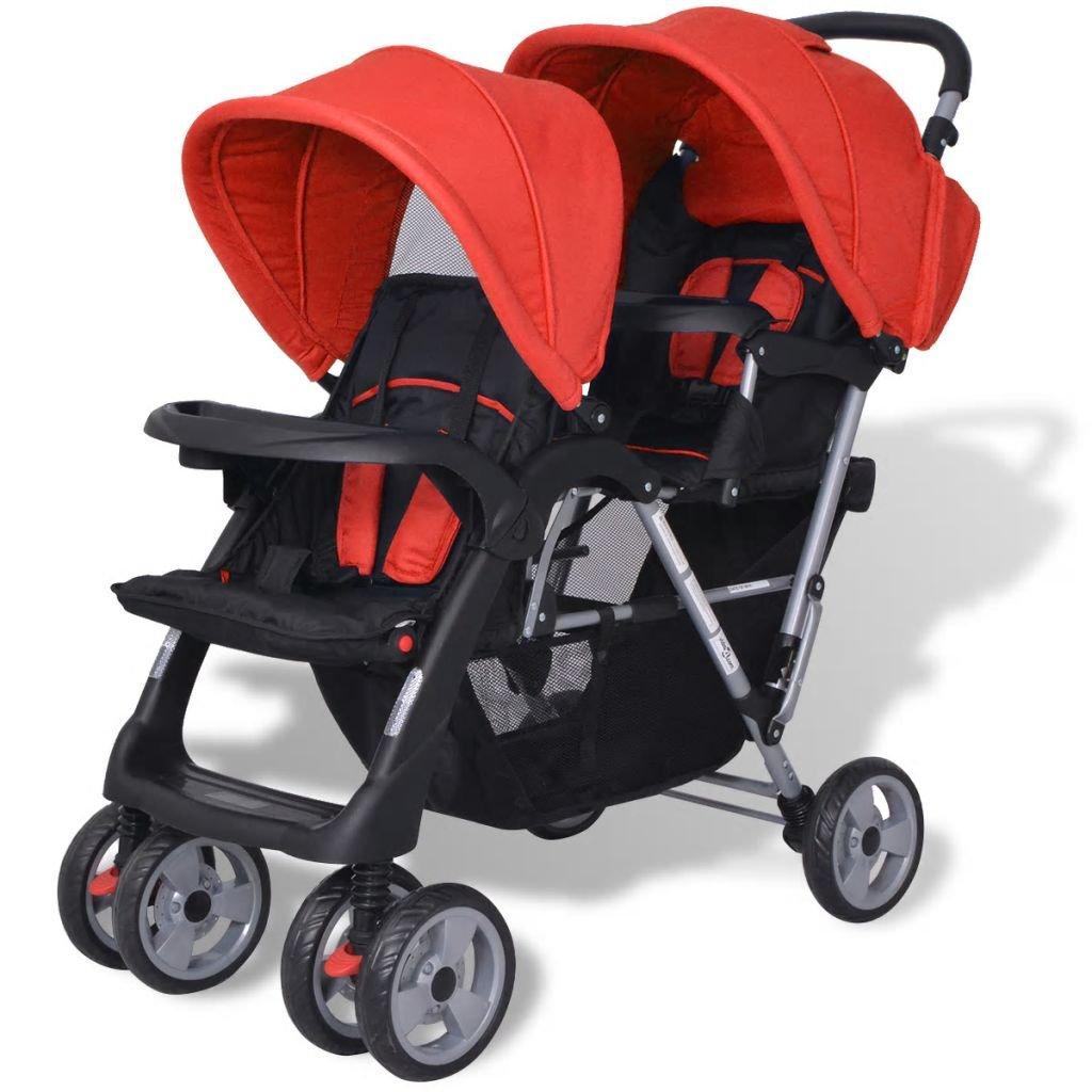 Rouge et Noir Convient /à 1-2 Enfants L x l x H yorten Poussette /à Deux Places avec Auvents Cadre en Acier 118 x 41 x 108 cm