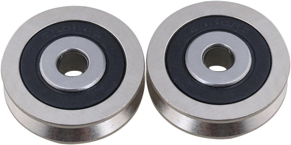 cnbtr 6000RS Deep V con forma de 6x 30x 8mm rodamientos sellados de metal bola de guía polea Rail de Acero Rodamiento rueda Set de 2