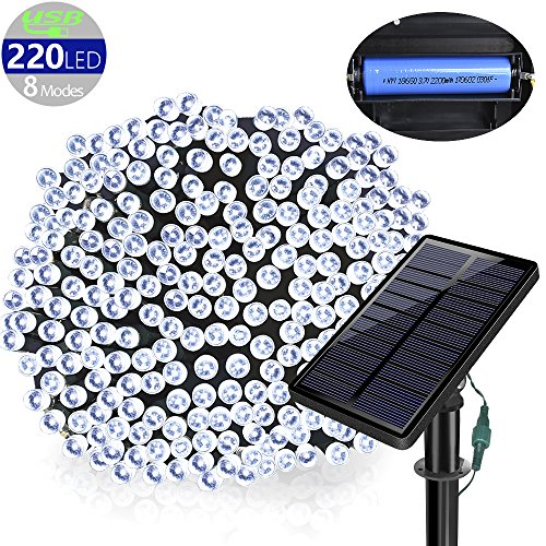 Solarmks Outdoor String Lights Solar Christmas Lights 77 ft 8 Modes 220 Led Fairy Lights Outdoor Waterproof Garden Lights for Outdoor Decoration, Ambiance lighting for Patio,Lawn, Xmas Tree(White) -