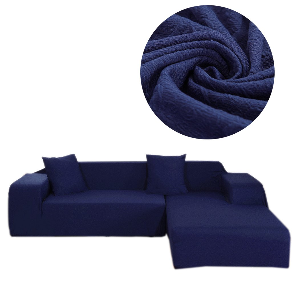 Gatycallaty Anti-wrinkle L-shaped Sectional Sofa Slipcovers;Anti-mite L sofa Covers For Pets Dogs Kids Living room (Navy, L-Shaped(3-Seater+3 Seater))