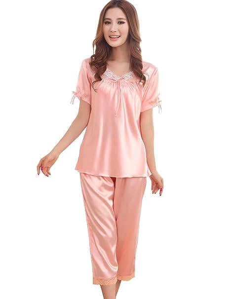 FAPIR Camisión Pijama Ropa para Dormir de Manga Corta de Encaje de Seta Verano para Mujer