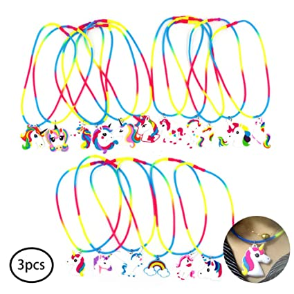 3 silicona collar de PVC fiesta de cumpleaños del unicornio ...