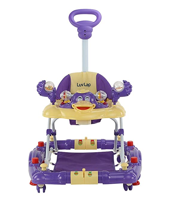 LuvLap Comfy Baby Walker & Rocker, Height Adjustable with Light & Musical Toys, 6m+ (Purple)