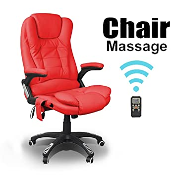 RIO RED RECLINING MASSAGE LEATHER OFFICE CHAIR w 6 POINT MASSAGE