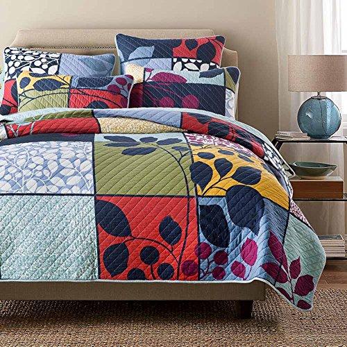 Floral Patchwork Quilt Set Cotton Queen Size Exquisite Leaves Printed Quilt Bedspread Vintage Quilt Set Luxury Soft Warm Autumn Winter Quilt Comforter Set, Multi-Colored, - Autumn Quilt Leaves