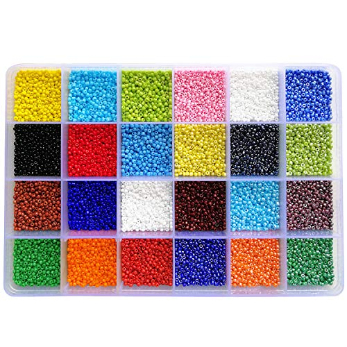 (BALABEAD 24000pcs in Box 24 Multicolor Assortment 12/0 Glass Seed Beads Opaque Colors Seed Beads for for Jewelry Making, Size 2mm Beads, Hole 0.6-0.8mm (1000pcs/Color, 24 Colors))