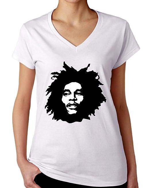 Bob Marley Profile Camiseta con Cuello de Pico para Mujer: Amazon.es: Ropa y accesorios