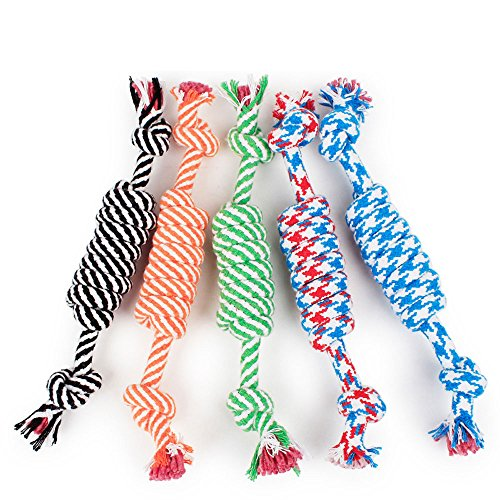 5 Pack Pet Puppy Dog Chew Durable Rope Toy for Dogs Teeth (Super Tug Rubber Toy)