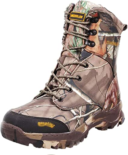 Mens Hiking Canvas High Top Lace Up Military Combat Mid Calf Tactical Boots Shoe