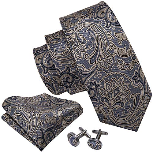 Barry.Wang Men's Tie Grey Silk Ties Pocket Square Cufflinks Set