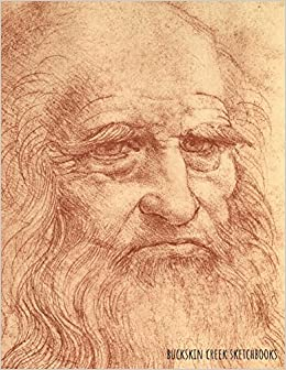 sketchbook leonardo da vinci self portrait 85 x 11 inches 200 blank pages with borders