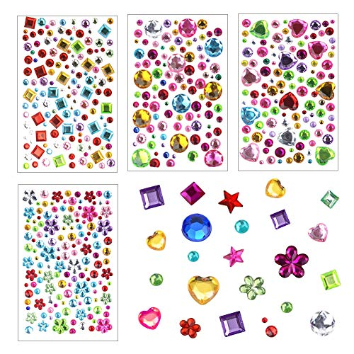 (MyBuddy Self-Adhesive Rhinestone Sticker Bling Craft Jewels Crystal Gem Stickers for Kids Crafts Scrapbooking Decoration, Assorted Size, 4 Sheets)