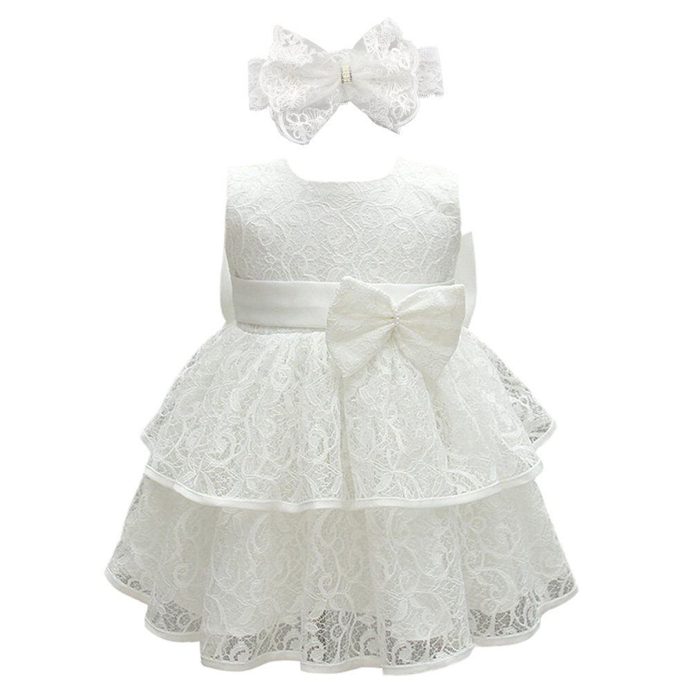 Glamulice Baby Girls Infant Lace Party Dresses Princess Wedding Birthday Formal Dress For Toddler