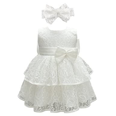 6b25e73a Glamulice Baby Girls Lace Christening Baptism Dress Pageant Birthday Formal  Dresses for Toddler (3M /