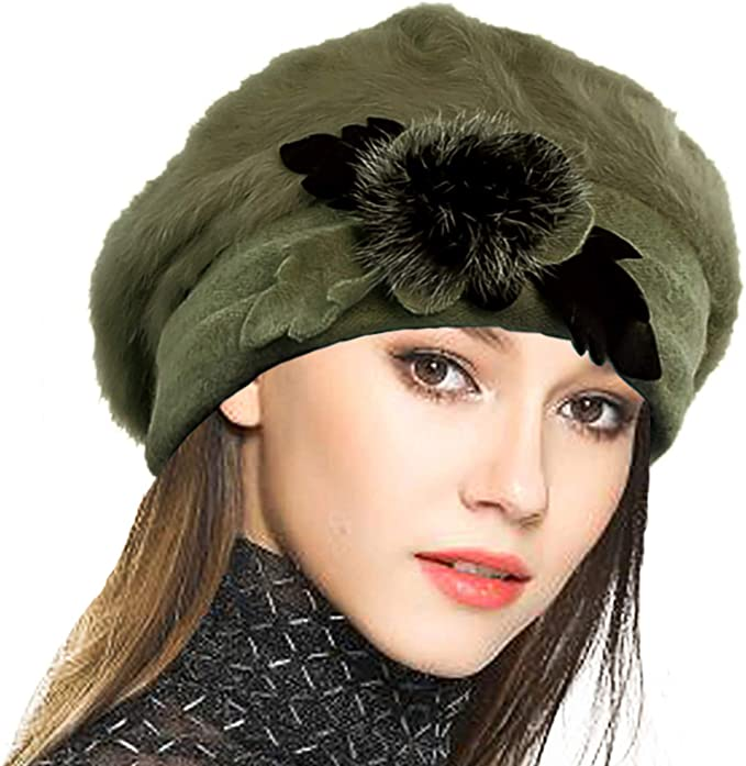 Tea Party Hats – Victorian to 1950s VECRY Women Wool Beret Angola Knit Beanie Skull Cap Dress Winter Hats £19.87 AT vintagedancer.com