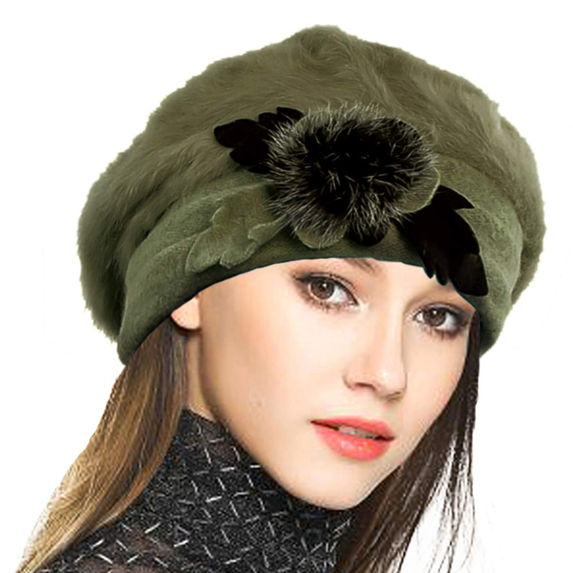 VECRY Women's 100% Wool Bucket Hat Felt Cloche Beret Dress Winter Beanie Hats (Angora-Green) by VECRY