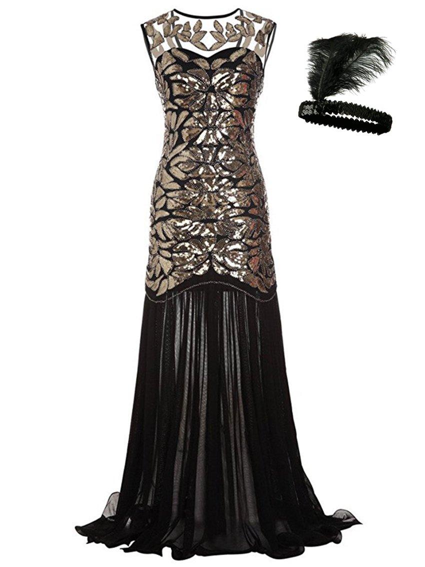 Women 's 1920s Sequin Maxi Long Great Gatsby Evening Prom Party Dress (Golden, XXL)