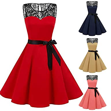 Women Plus Size High-Waist Ball Gown Sleeveless Solid Lace A Line Swing Party Dress