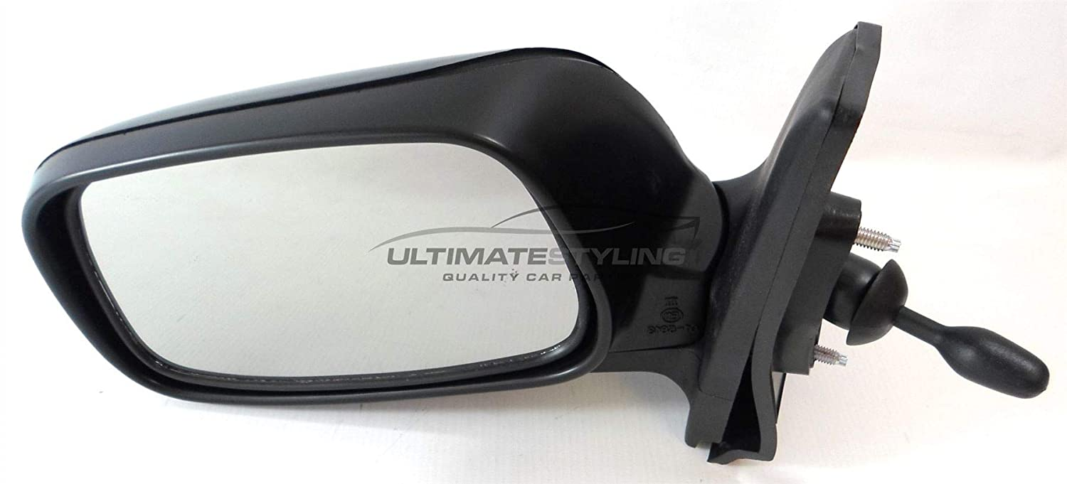 Ultimate Styling Replacement Cable None Power Folding Wing Door Mirror With Non-Heated Glass With Paintable Black Mirror Cover Cap Side Of Product Passenger Side LH