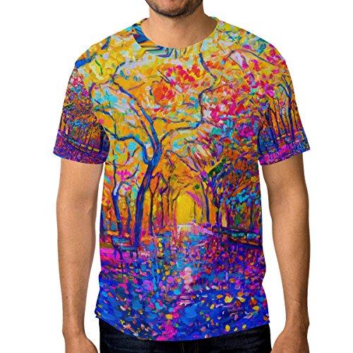 Du Arbre Automne Décontracté Multicolore Cou Courtes Homme T À Manches shirt Alaza Ras Coloré w6Pgqnt