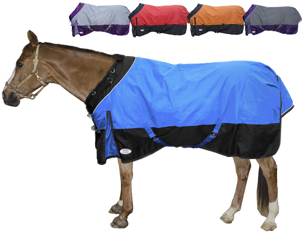 Derby Originals Windstorm Series Reflective Safety 1200D Ripstop Waterproof Nylon Horse Winter Turnout Blanket with 300g Insulation - Two Year Limited Manufacturer's Warranty, Electric Blue/Black