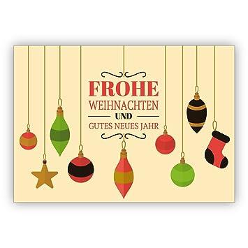Weihnachts Glückwunsch 16er Set: Beige Weihnachtskarte mit Retro ...