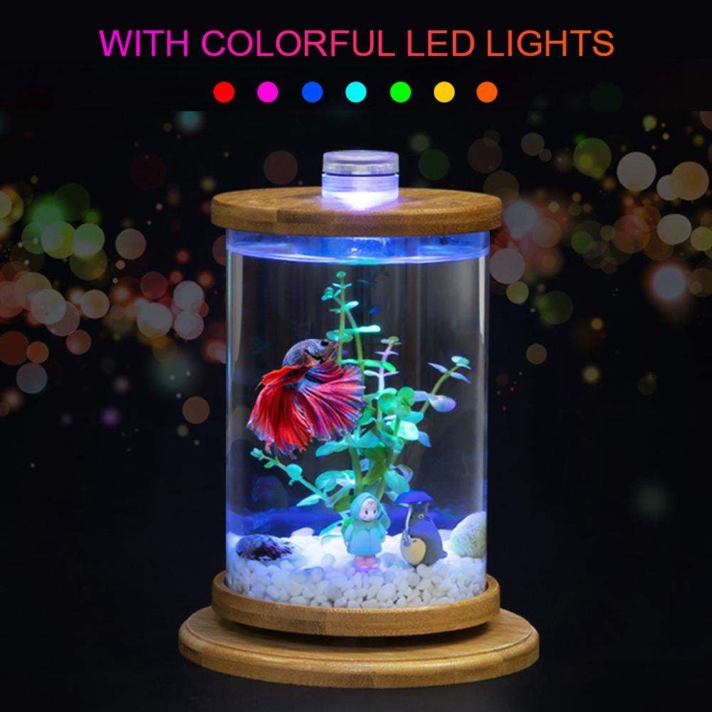C White Aquarium Starter Kit, TEEPAO redating Ecological Desktop Fish Tank with 7 color Changing Light, Artificial Water Grass, Sand, Nitrifying Bacteria Ball, Feed, Wood Fish Tank Ornaments 7.8''x5.5''