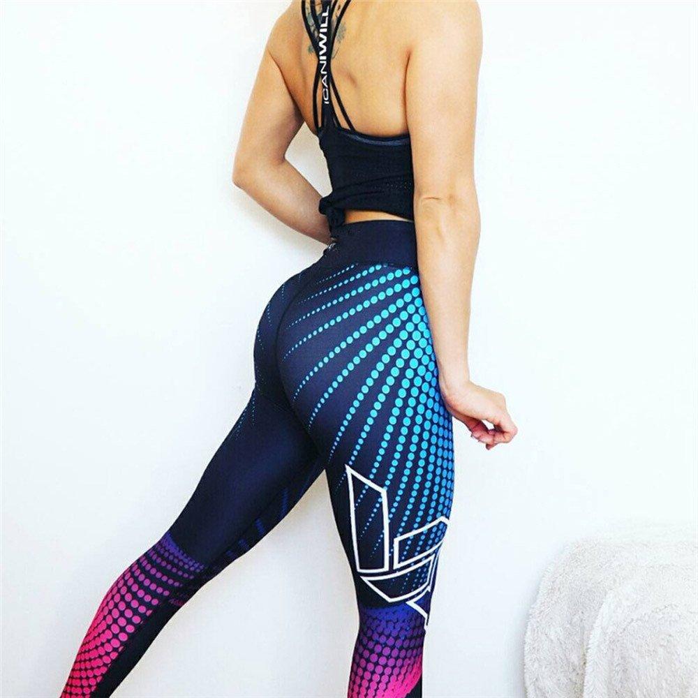 FELZ Pantalones para Yoga Mujeres Leggins de Yoga Impresos con Ola Deportiva para Fitness Running Ropa Pantalones Deportivos