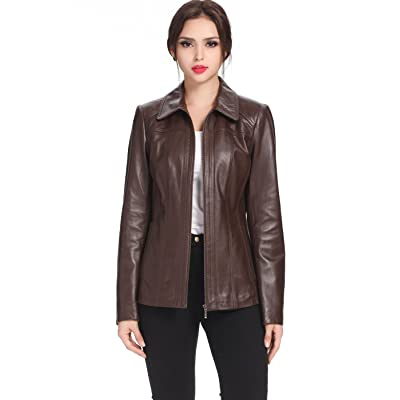 BGSD Women's Ellen Lambskin Leather Jacket (Regular and Plus Size and Short) at Women's Coats Shop