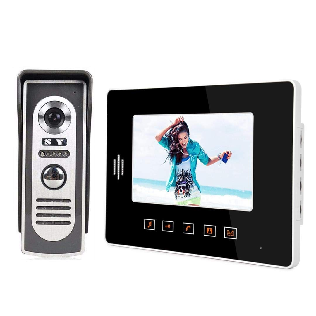 KRPENRIO Practical 7-inch fashion touch indoor unit touch button video doorbell outdoor machine metal rain